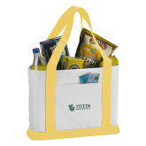 Contender White/Gold Canvas Tote-TU with Tiffin Universrity Horizontal