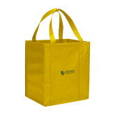 Non Woven Gold Grocery Tote-TU with Tiffin Universrity Horizontal
