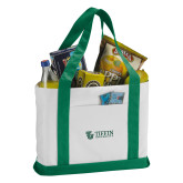 Contender White/Green Canvas Tote-TU with Tiffin Universrity Horizontal
