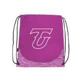 Nylon Zebra Pink/White Patterned Drawstring Backpack-Primary Logo