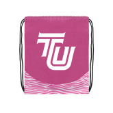 Nylon Zebra Pink/White Patterned Drawstring Backpack-University TU