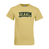 Champion Vegas Gold T Shirt-Tiffin University Arched and Stacked