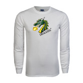 White Long Sleeve T Shirt-Dragon with Text