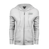 ENZA Ladies White Fleece Full Zip Hoodie-Tiffin University