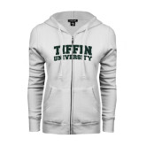 ENZA Ladies White Fleece Full Zip Hoodie-Tiffin University Arched and Stacked