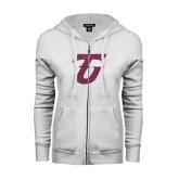 ENZA Ladies White Fleece Full Zip Hoodie-Primary Logo Pink Glitter