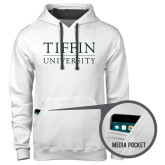 Contemporary Sofspun White Hoodie-Tiffin University