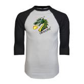 White/Black Raglan Baseball T-Shirt-Dragon with Text