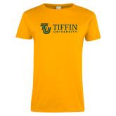 Ladies Gold T Shirt-TU with Tiffin Universrity Horizontal