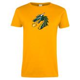 Ladies Gold T Shirt-Dragon Head