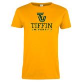 Ladies Gold T Shirt-TU Tiffin University Vertical