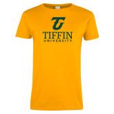 Ladies Gold T Shirt-Athletic TU Tiffin University Vertical