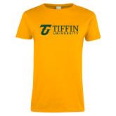 Ladies Gold T Shirt-Athletic TU Tiffin University Horizontal