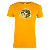 Ladies Gold T Shirt-Dragon Head Distressed