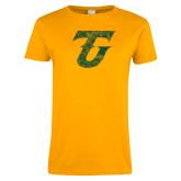 Ladies Gold T Shirt-Athletic TU Distressed