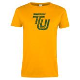 Ladies Gold T Shirt-TU Distressed