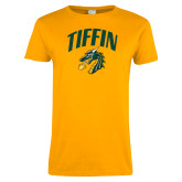 Ladies Gold T Shirt-Tiffin Arched over Dragon Head