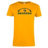 Ladies Gold T Shirt-Dragons Football