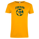 Ladies Gold T Shirt-Dragons Soccer