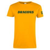 Ladies Gold T Shirt-Dragons Wordmark