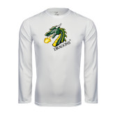 Syntrel Performance White Longsleeve Shirt-Dragon with Text