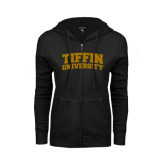 ENZA Ladies Black Fleece Full Zip Hoodie-Tiffin University Arched and Stacked