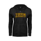 ENZA Ladies Black Fleece Full Zip Hoodie-Tiffin University Arched and Stacked