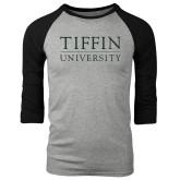Grey/Black Tri Blend Baseball Raglan-Tiffin University