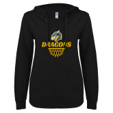 ENZA Ladies Black V Notch Raw Edge Fleece Hoodie-Dragons Basketball