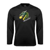 Performance Black Longsleeve Shirt-Dragon with Text