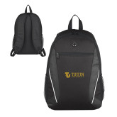Atlas Black Computer Backpack-TU with Tiffin Universrity Horizontal