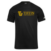 Russell Core Performance Black Tee-TU with Tiffin Universrity Horizontal
