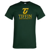 Dark Green T Shirt-Athletic TU Tiffin University Vertical