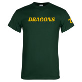 Dark Green T Shirt-Dragons Wordmark