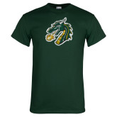 Dark Green T Shirt-Dragon Head Distressed