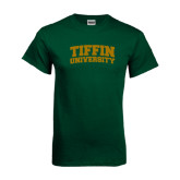Dark Green T Shirt-Tiffin University Arched and Stacked