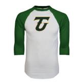 White/Dark Green Raglan Baseball T-Shirt-Primary Logo