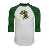 White/Dark Green Raglan Baseball T-Shirt-Dragon with Text