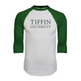 White/Dark Green Raglan Baseball T-Shirt-Tiffin University