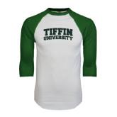 White/Dark Green Raglan Baseball T-Shirt-Tiffin University Arched and Stacked