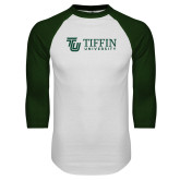 White/Dark Green Raglan Baseball T Shirt-TU with Tiffin Universrity Horizontal