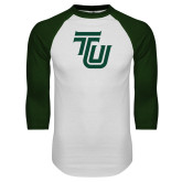White/Dark Green Raglan Baseball T Shirt-University TU