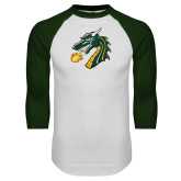 White/Dark Green Raglan Baseball T Shirt-Dragon Head