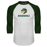 White/Dark Green Raglan Baseball T Shirt-Baseball