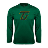 Performance Dark Green Longsleeve Shirt-Primary Logo
