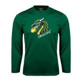 Syntrel Performance Dark Green Longsleeve Shirt-Dragon with Text