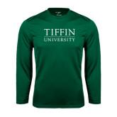 Performance Dark Green Longsleeve Shirt-Tiffin University