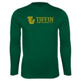 Performance Dark Green Longsleeve Shirt-TU with Tiffin Universrity Horizontal