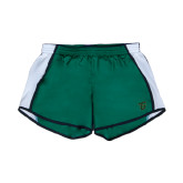 Ladies Dark Green/White Team Short-Primary Logo