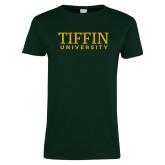 Ladies Dark Green T Shirt-Tiffin University